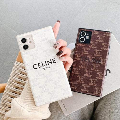 Celine Style Square Leather Designer iPhone Case For all iPhone models - Casememe