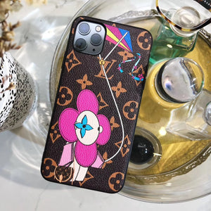 Louis Vuitton x Takashi Murakami Style Monogram Leather Protective Designer iPhone Case For iPhone 12 SE 11 Pro Max X XS Max XR 7 8 Plus - Casememe.com