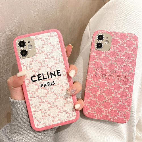 Celine Style Lambskin Leather Designer iPhone Case For all iPhone models - Casememe