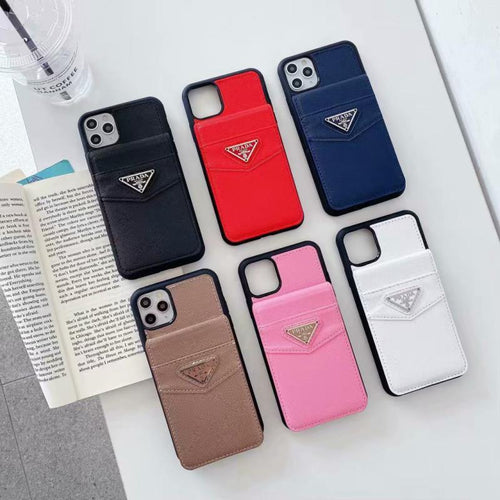 Prada Style Cardholder Leather Shockproof Protective Designer iPhone Case For iPhone SE 11 Pro Max X XS Max XR 7 8 Plus