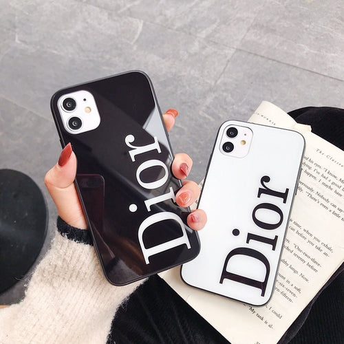 Christian Dior Style Tempered Glass Shockproof Protective Designer iPhone Case For iPhone SE 11 Pro Max X XS Max XR 7 8 Plus