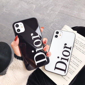 Christian Dior Style Tempered Glass Shockproof Protective Designer iPhone Case For iPhone 12 SE 11 Pro Max X XS Max XR 7 8 Plus - Casememe.com