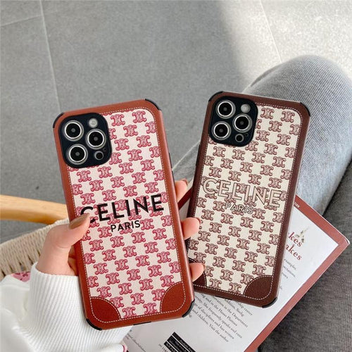 Celine Style Corner Protection Silicone Designer iPhone Case For all iPhone models - Casememe