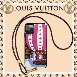 Louis Vuitton x Takashi Murakami Style Leather Fire Balloon Designer iPhone Case For iPhone SE 11 Pro Max X XS Max XR 7 8 Plus - Casememe.com