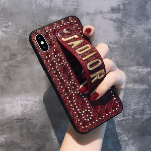 Christian Dior Style Hand Strap Shockproof Protective Designer iPhone Case For iPhone SE 11 Pro Max X XS Max XR 7 8 Plus - Casememe.com