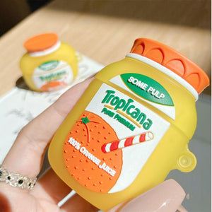 Tropicana Orange Juice Silicone Protective Case For Apple Airpods 1 & 2 & Pro - Casememe.com