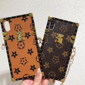 Louis Vuitton Style Trunk Monogram Leather Designer iPhone Case For All iPhone Models - Casememe.com