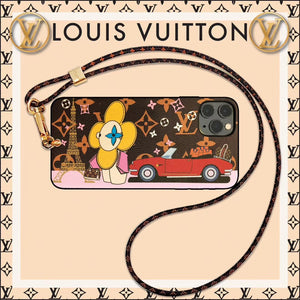 Louis Vuitton x Takashi Murakami Style Luxury Leather Tower Protective Designer iPhone Case For iPhone SE 11 Pro Max X XS Max XR 7 8 Plus - Casememe.com
