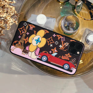 Louis Vuitton x Takashi Murakami Style Luxury Leather Tower Protective Designer iPhone Case For iPhone 12 SE 11 Pro Max X XS Max XR 7 8 Plus - Casememe.com