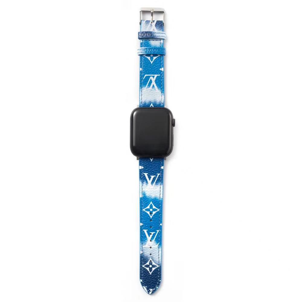 Louis Vuitton Style Leather Apple Watch Band Strap For iWatch Series 4/3/2/1 - Casememe.com
