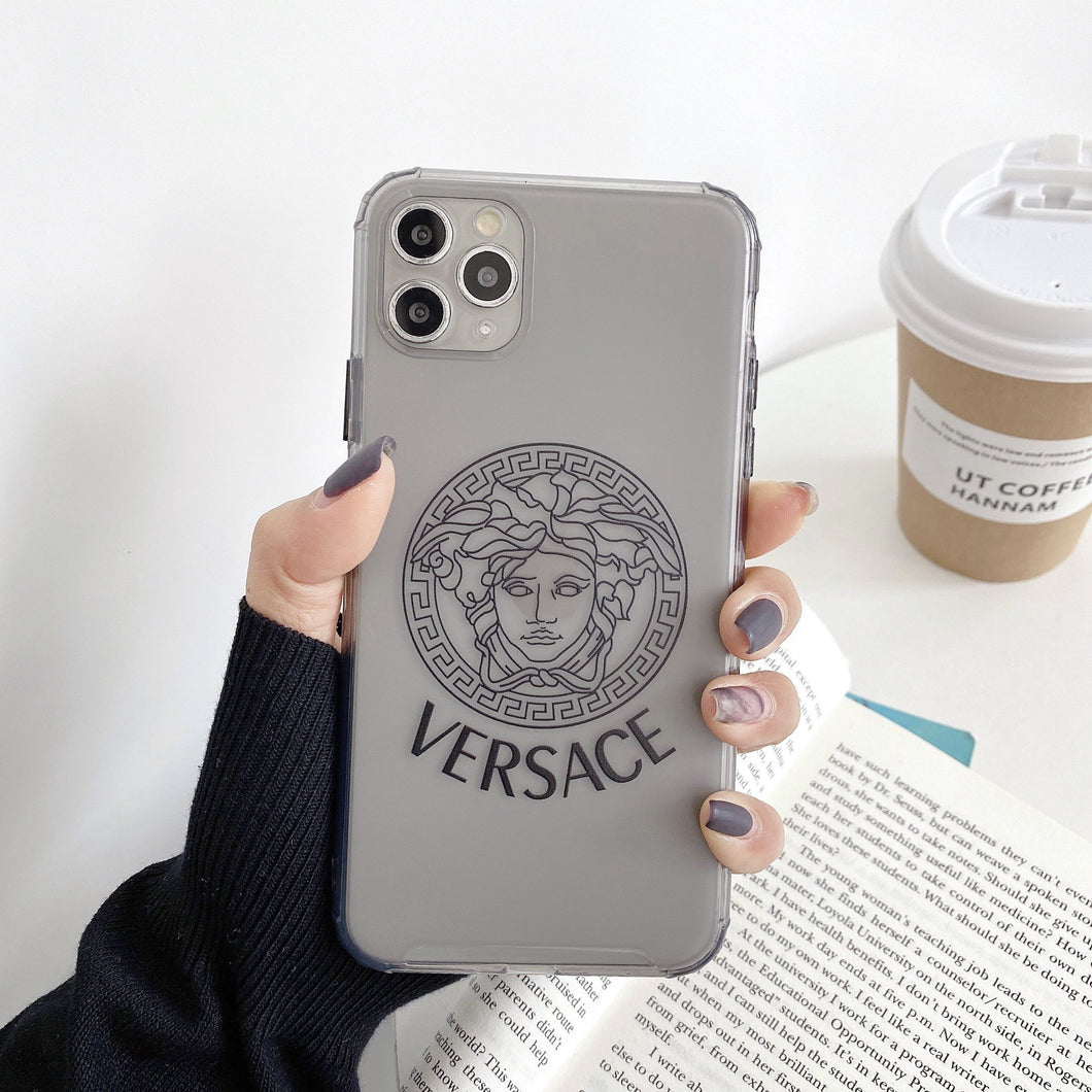 Versace Style Clear Shockproof Protective Designer iPhone Case For iPhone 12 SE 11 Pro Max X XS Max XR 7 8 Plus - Casememe.com