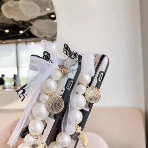 Christion Dior Style Pearl Hand Strap Designer iPhone Case For All iPhone Models - Casememe.com