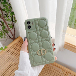 Christian Dior Style Leather Shockproof Protective Designer iPhone Case For iPhone SE 11 Pro Max X XS Max XR 7 8 Plus - Casememe.com