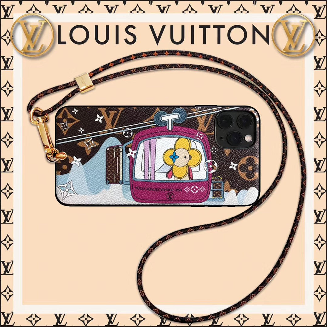 Louis Vuitton x Takashi Murakami Style Leather Telpher Protective Designer iPhone Case For iPhone SE 11 Pro Max X XS Max XR 7 8 Plus - Casememe.com