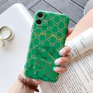Gucci Style Glossy Electroplating All Wrap Protective Designer iPhone Case For iPhone 12 SE 11 Pro Max X XS Max XR 7 8 Plus - Casememe.com