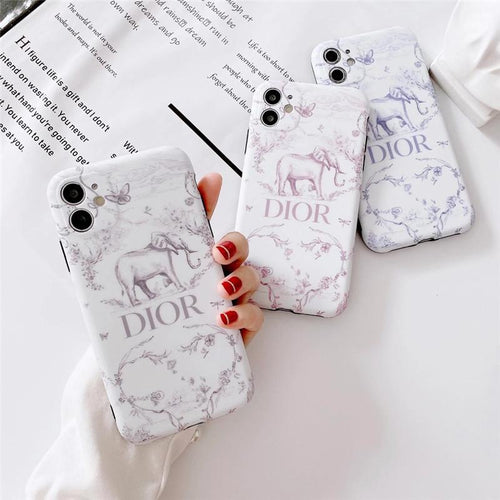Christian Dior Style Elephant Shockproof Protective Designer iPhone Case For iPhone SE 11 Pro Max X XS Max XR 7 8 Plus