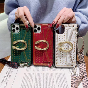Gucci Style Dionysus Strap Protective Designer iPhone Case For iPhone SE 11 Pro Max X XS Max XR 7 8 Plus - Casememe.com