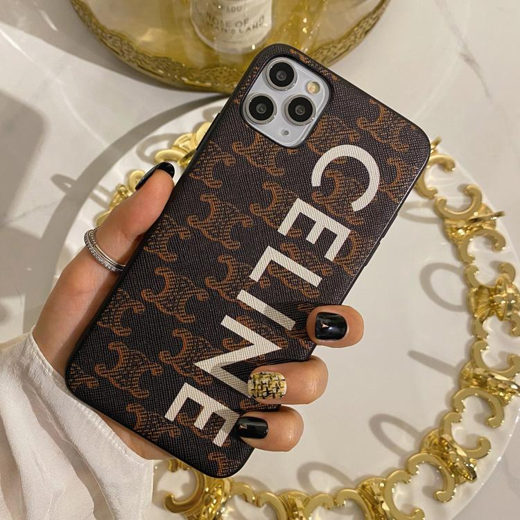 Celine Style Leather Designer iPhone Case For iPhone SE 11 Pro Max X XS Max XR 7 8 Plus - Casememe.com