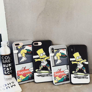VANS x Simpsons Style Black Silicone Designer iPhone Case For iPhone X XS XS Max XR 7 8 Plus - Casememe.com
