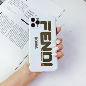 Fendi Style Electroplating Glossy TPU Silicone Designer iPhone Case For iPhone 12 SE 11 Pro Max X XS XS Max XR 7 8 Plus - Casememe.com
