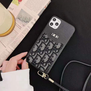 Dior Style Luxury Leather Cardholder Wallet Shockproof Protective Designer iPhone Case For iPhone 12 SE 11 Pro Max X XS Max XR 7 8 Plus - Casememe.com