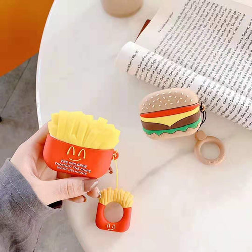McDonald Style Hamburger French Fries Silicone Protective Case For Apple Airpods Pro - Casememe.com