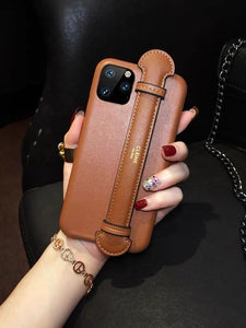 Celine Style Leather Hand Strap Protective Designer iPhone Case For iPhone SE 11 Pro Max X XS Max XR 7 8 Plus - Casememe.com
