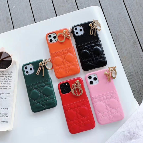 Christian Dior Style Leather Cardholder Wallet Keychain Shockproof Protective Designer iPhone Case For iPhone 12 SE 11 Pro Max X XS Max XR 7 8 Plus - Casememe