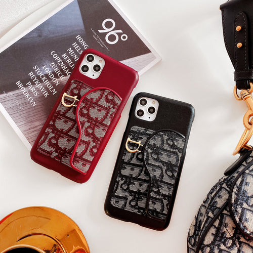 Dior Style Classic Fabric Cardholder Wallet Silicone Shockproof Protective Designer iPhone Case For iPhone SE 11 Pro Max X XS Max XR 7 8 Plus - Casememe.com
