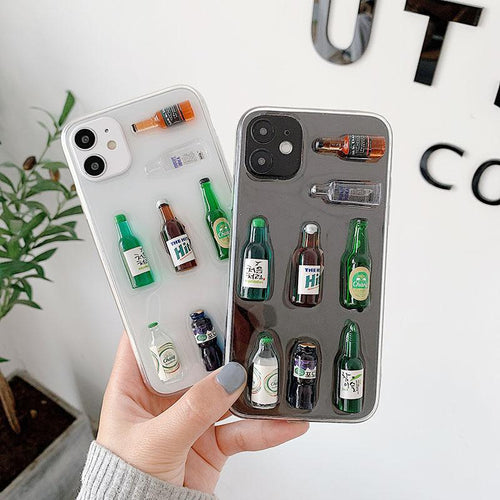 3D Korean Soju Bottle Silicone Shockproof Protective Designer iPhone Case For iPhone SE 11 Pro Max X XS Max XR 7 8 Plus - Casememe.com