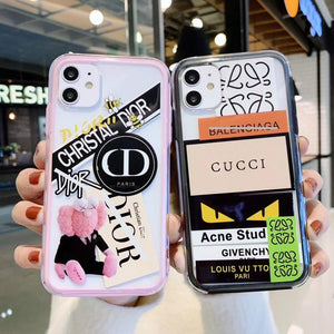 Gucci Style Tempered Glass Shockproof Protective Designer iPhone Case For iPhone SE 11 Pro Max X XS Max XR 7 8 Plus - Casememe.com