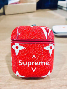 Luxury Supreme Style AirPods Leather Protective Shockproof Case For Apple Airpods 1 & 2 - Casememe.com