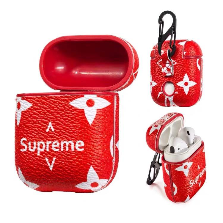Luxury Supreme Style Airpods Leather Protective Shockproof Case
