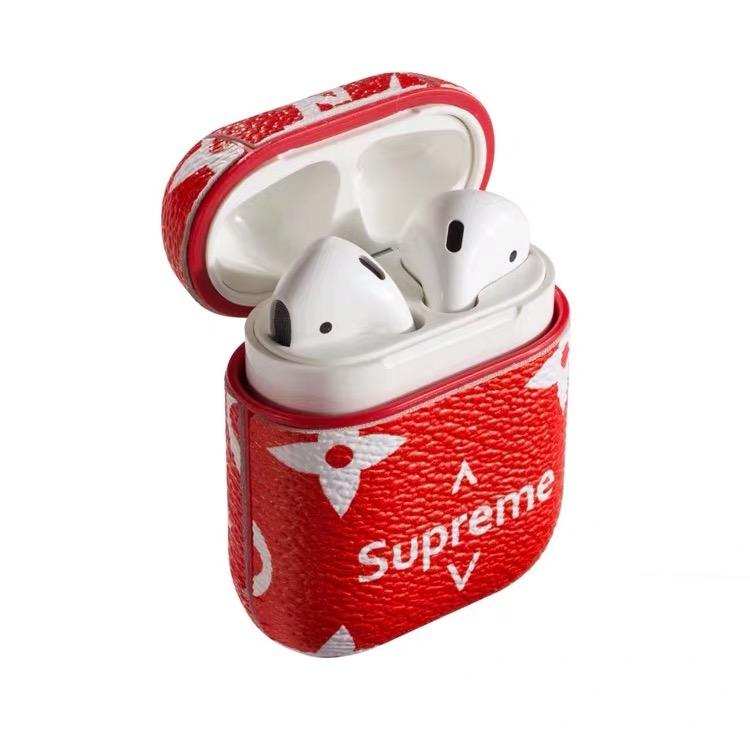 online store 90a86 0ab64 Luxury Supreme Style AirPods Leather Protective Shockproof Case For Apple  Airpods 1 & 2