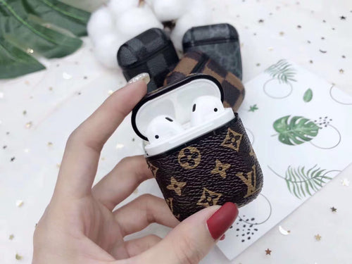Luxury Style AirPods Classic Monogram Leather Protective Shockproof Case For Apple Airpods 1 & 2 - Casememe.com