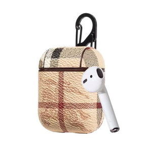 Burberry Style AirPods Classic Leather Protective Shockproof Case For Apple Airpods 1 & 2 - Casememe.com
