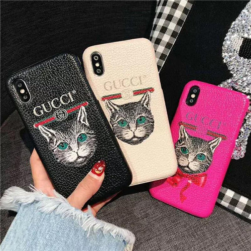 Gucci Style Leather Cat Kitty Designer iPhone Case For iPhone X XS XS Max XR 7 8 Plus - Casememe.com