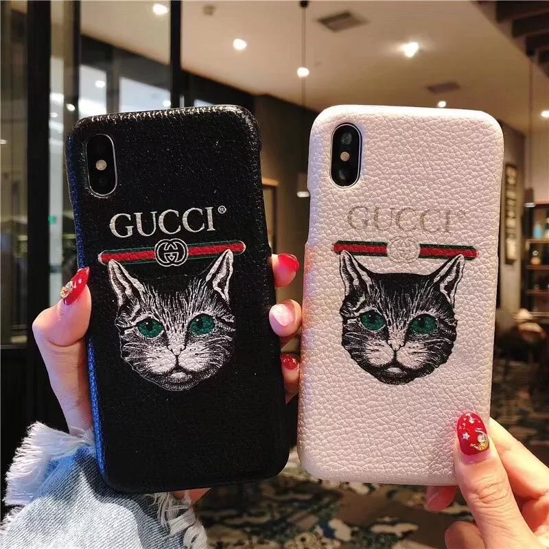 new products 405ea 6afab Gucci Style Leather Cat Kitty Designer iPhone Case For iPhone X XS XS Max  XR 7 8 Plus