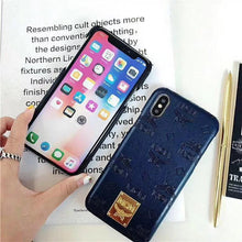 Load image into Gallery viewer, MCM Style Shimmer Leather Protective Designer iPhone Case For iPhone X XS XS Max XR 7 8 Plus - Casememe.com