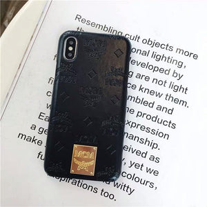 MCM Style Shimmer Leather Protective Designer iPhone Case For iPhone X XS XS Max XR 7 8 Plus - Casememe.com