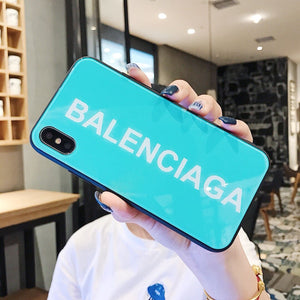 Balenciaga Style Tempered Glass Shockproof Protective Designer iPhone Case For iPhone 12 SE 11 Pro Max X XS Max XR 7 8 Plus - Casememe.com