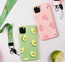 Load image into Gallery viewer, Cute Summer Fruit Silicone Lanyard Designer iPhone Case For iPhone SE 11 Pro Max X XS XS Max XR 7 8 Plus - Casememe.com