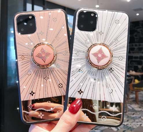 Luxury Monogram Glossy Ring Holder Designer iPhone Case For iPhone 11 Pro Max X XS XS Max XR 7 8 Plus - Casememe.com