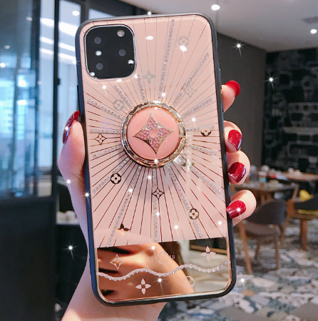 Luxury Monogram Glossy Ring Holder Designer iPhone Case For iPhone 12 SE 11 Pro Max X XS XS Max XR 7 8 Plus - Casememe.com