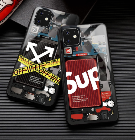 Supreme Style Tempered Glass Designer iPhone Case For iPhone SE 11 Pro Max X XS XS Max XR 7 8 Plus - Casememe.com