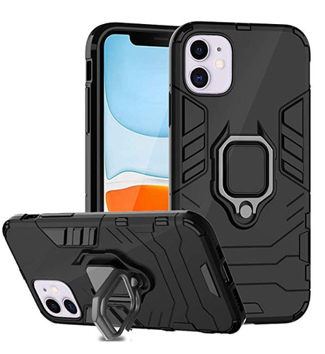 Black Ring Holder Shockproof Designer iPhone Case For iPhone SE 11 Pro Max X XS XS Max XR 7 8 Plus - Casememe.com