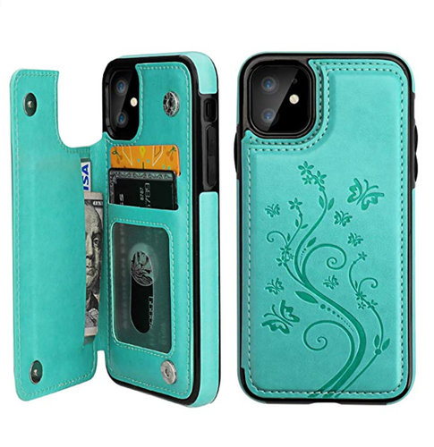 Green Leather Cardholder Designer iPhone Case For iPhone SE 11 Pro Max X XS XS Max XR 7 8 Plus - Casememe.com