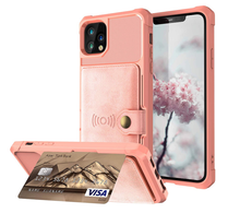 Load image into Gallery viewer, Cardholder Baby Pink Leather Designer iPhone Case For iPhone SE 11 Pro Max X XS XS Max XR 7 8 Plus - Casememe.com