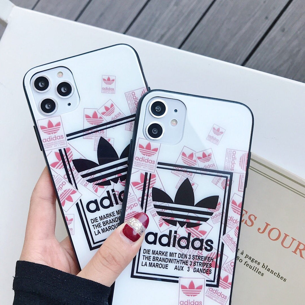 Adidas Style Tempered Glass Shockproof Protective Designer iPhone Case For iPhone 12 SE 11 Pro Max X XS Max XR 7 8 Plus - Casememe.com