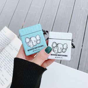 KAWS Style Luggage Box Leather Protective Case For Apple Airpods 1 & 2 - Casememe.com